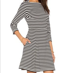 Kate Spade Black, White Striped Dress with Pockets